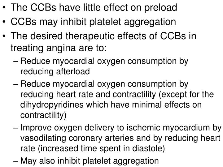 The CCBs have little effect on preload