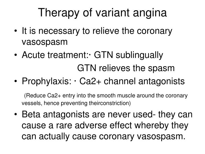 Therapy of variant angina