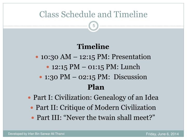 Class Schedule and Timeline