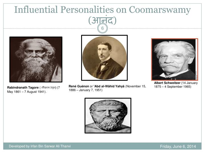 Influential Personalities on Coomarswamy (