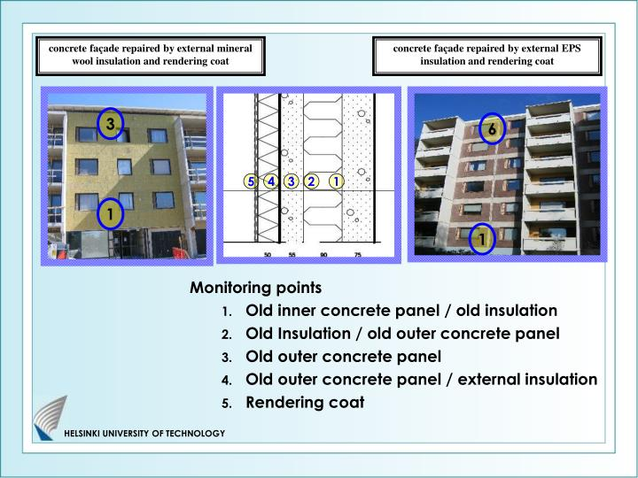 concrete façade repaired by external mineral wool insulation and rendering coat