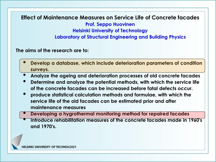 Effect of Maintenance Measures on Service Life of Concrete facades