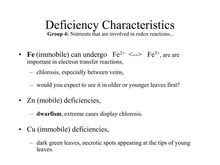 Deficiency Characteristics