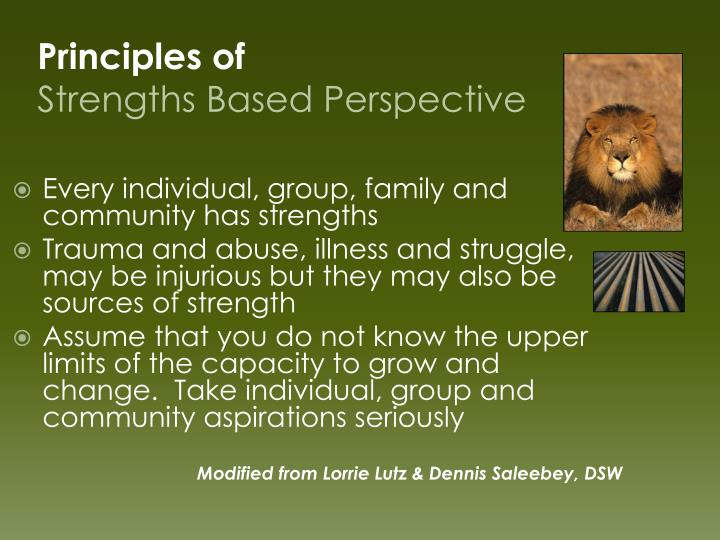 Every individual, group, family and community has strengths