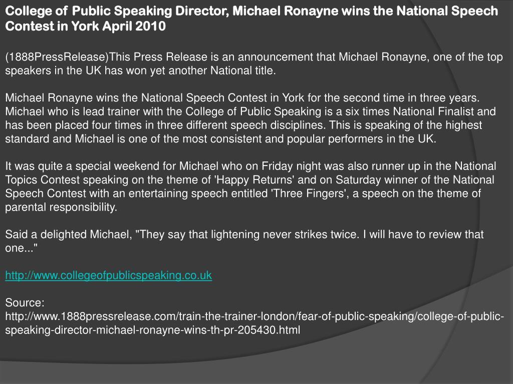 College of Public Speaking Director, Michael
