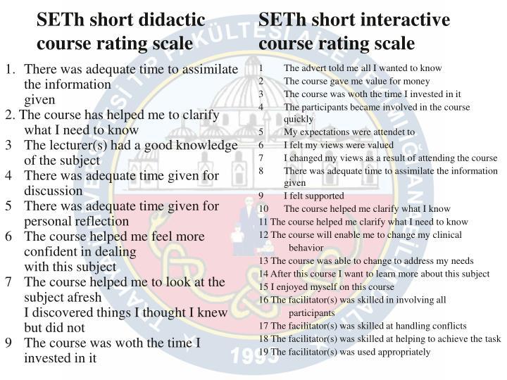 SETh short didactic