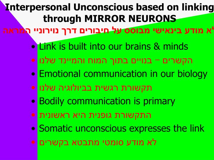 Interpersonal Unconscious based on linking through