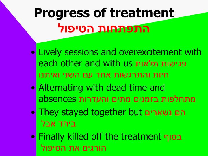 Progress of treatment