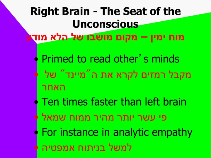Right Brain - The Seat of the Unconscious