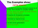 the examples show