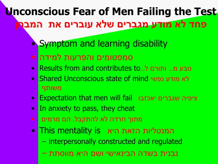 Unconscious Fear of Men Failing the Test