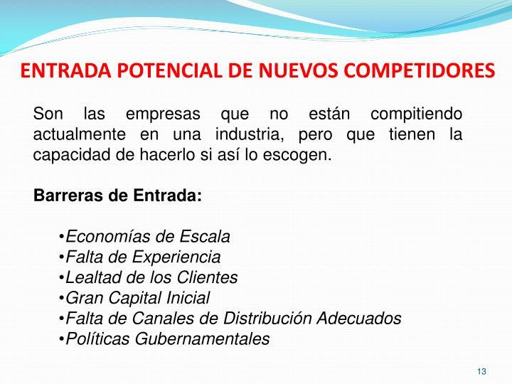 ENTRADA POTENCIAL DE NUEVOS COMPETIDORES