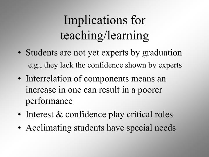 Implications for teaching/learning