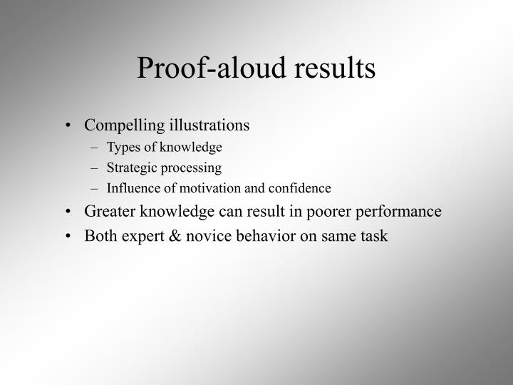 Proof-aloud results