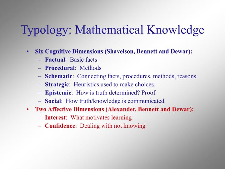 Typology: Mathematical Knowledge