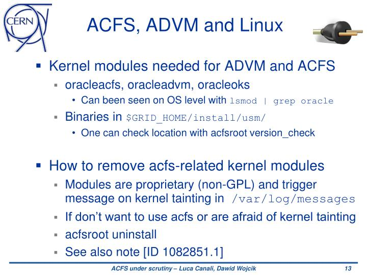 ACFS, ADVM and Linux