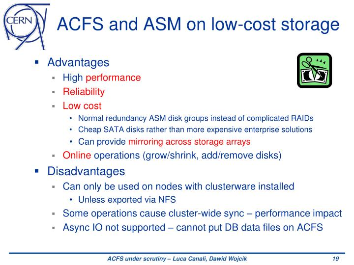 ACFS and ASM on low-cost storage