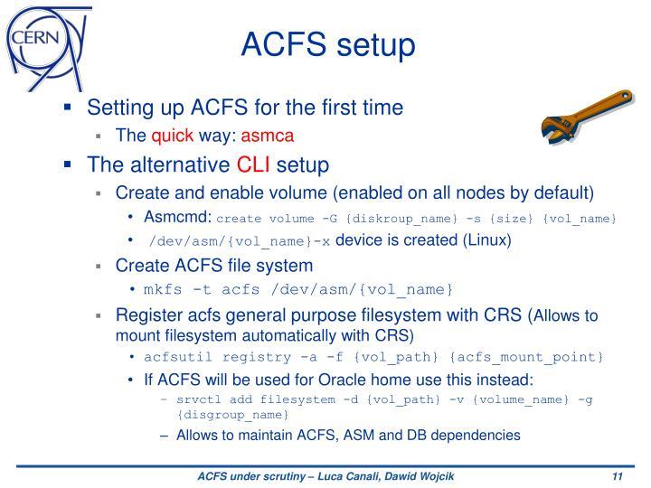 ACFS setup