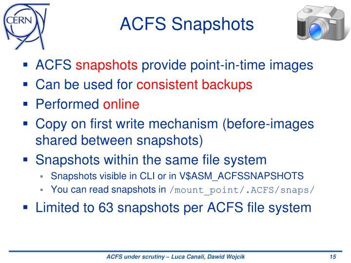 ACFS Snapshots