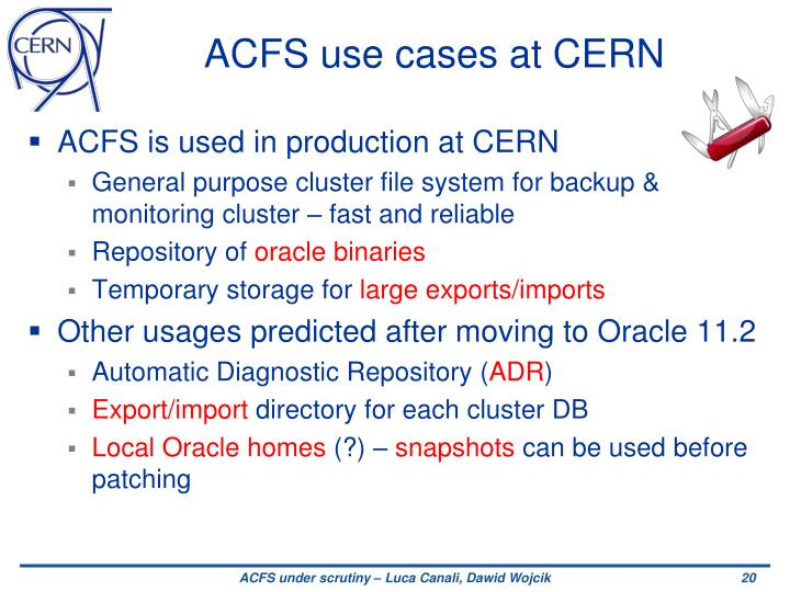 ACFS use cases at CERN