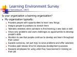 learning environment survey tannenbaum 1997