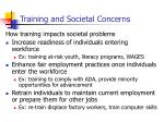 training and societal concerns