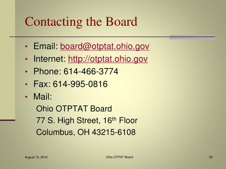 Contacting the Board