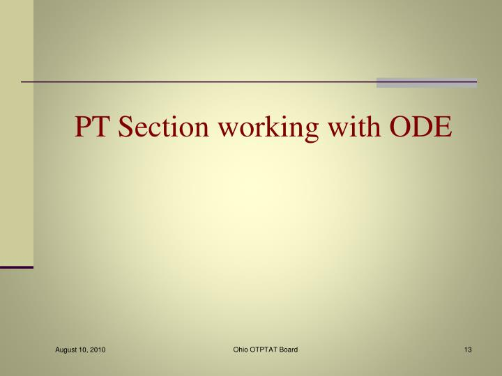 PT Section working with ODE