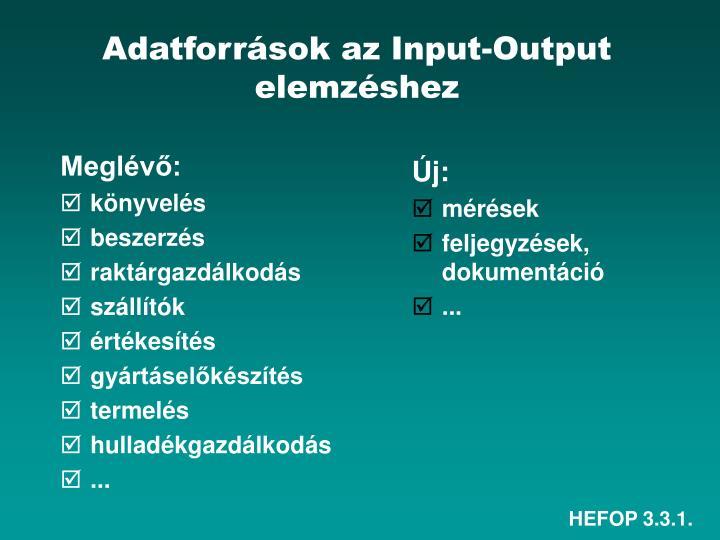 Adatforrások az Input-Output elemzéshez