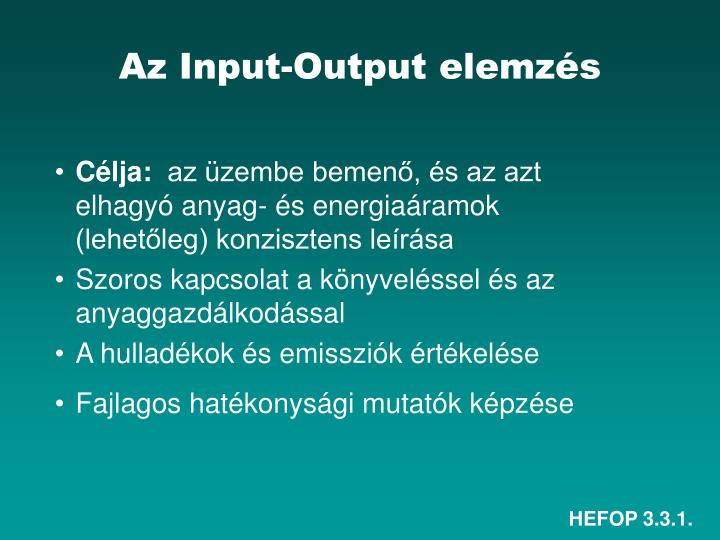 Az Input-Output elemzés