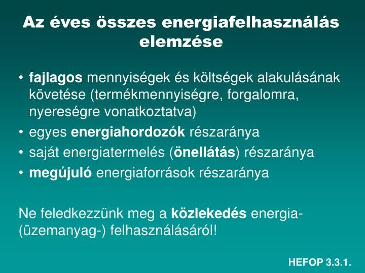 Az éves összes energiafelhasználás elemzése