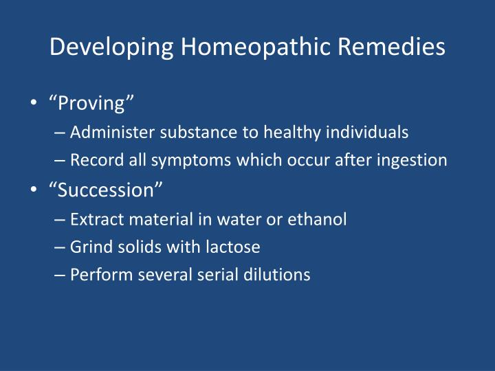 Developing Homeopathic Remedies