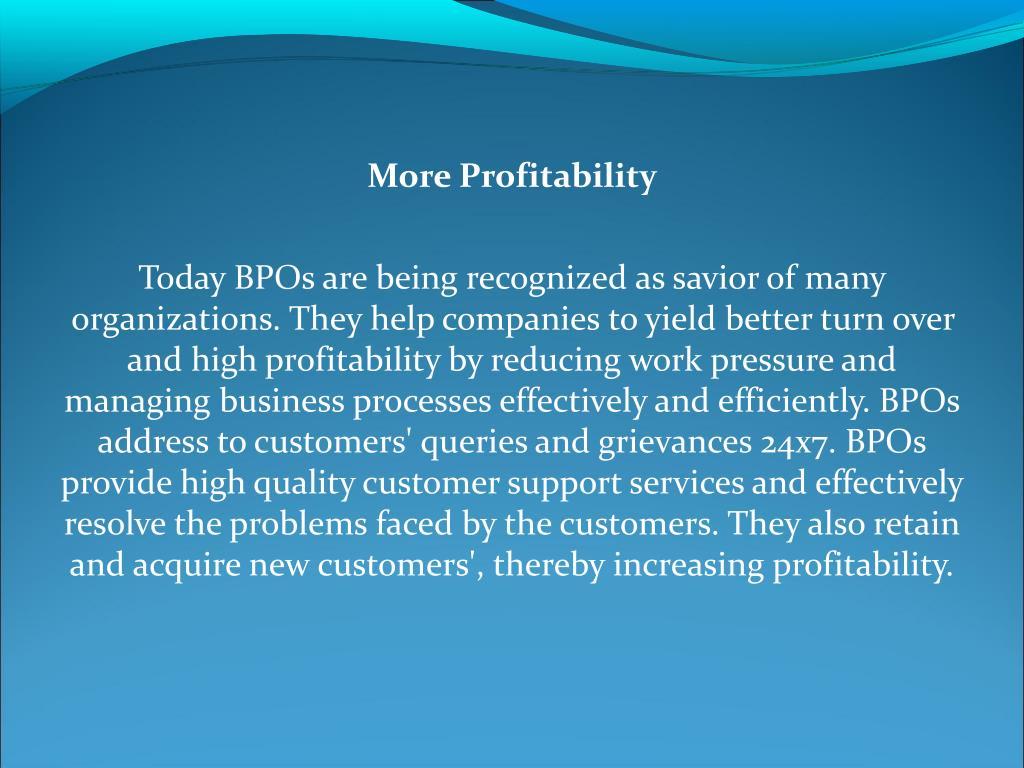 More Profitability