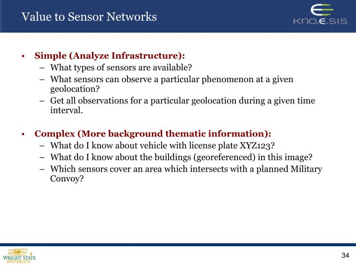 Value to Sensor Networks