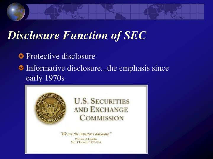 Disclosure Function of SEC