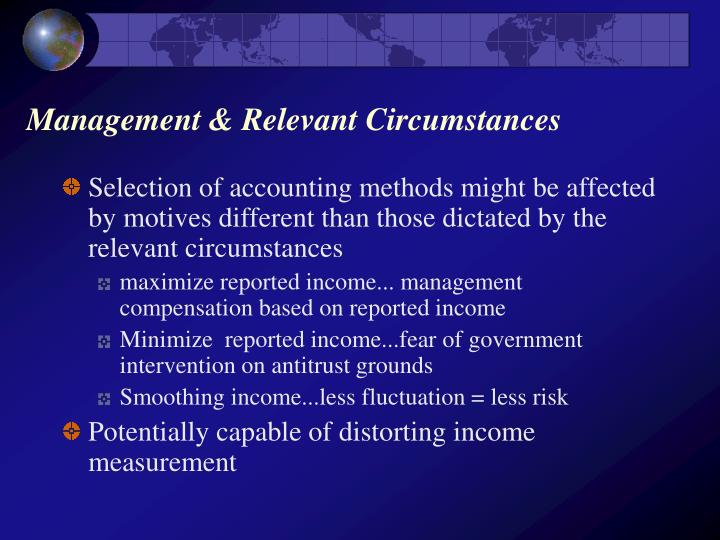 Management relevant circumstances