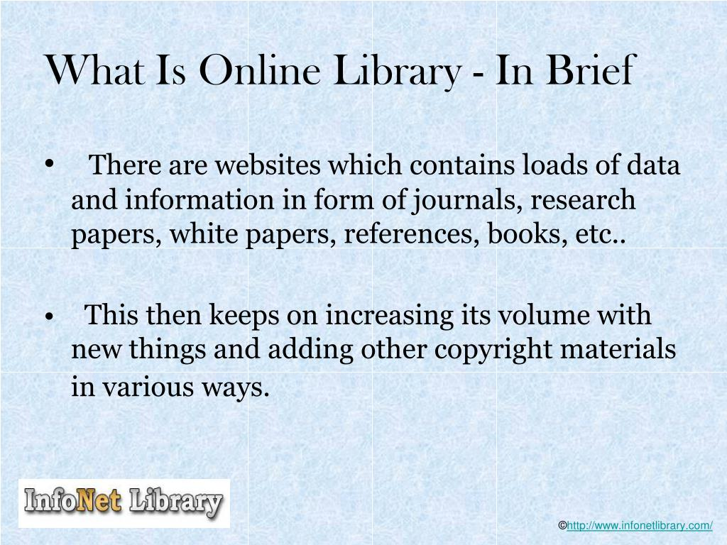 What Is Online Library - In Brief