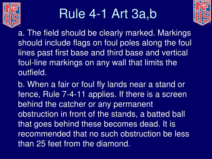 Rule 4-1 Art 3a,b
