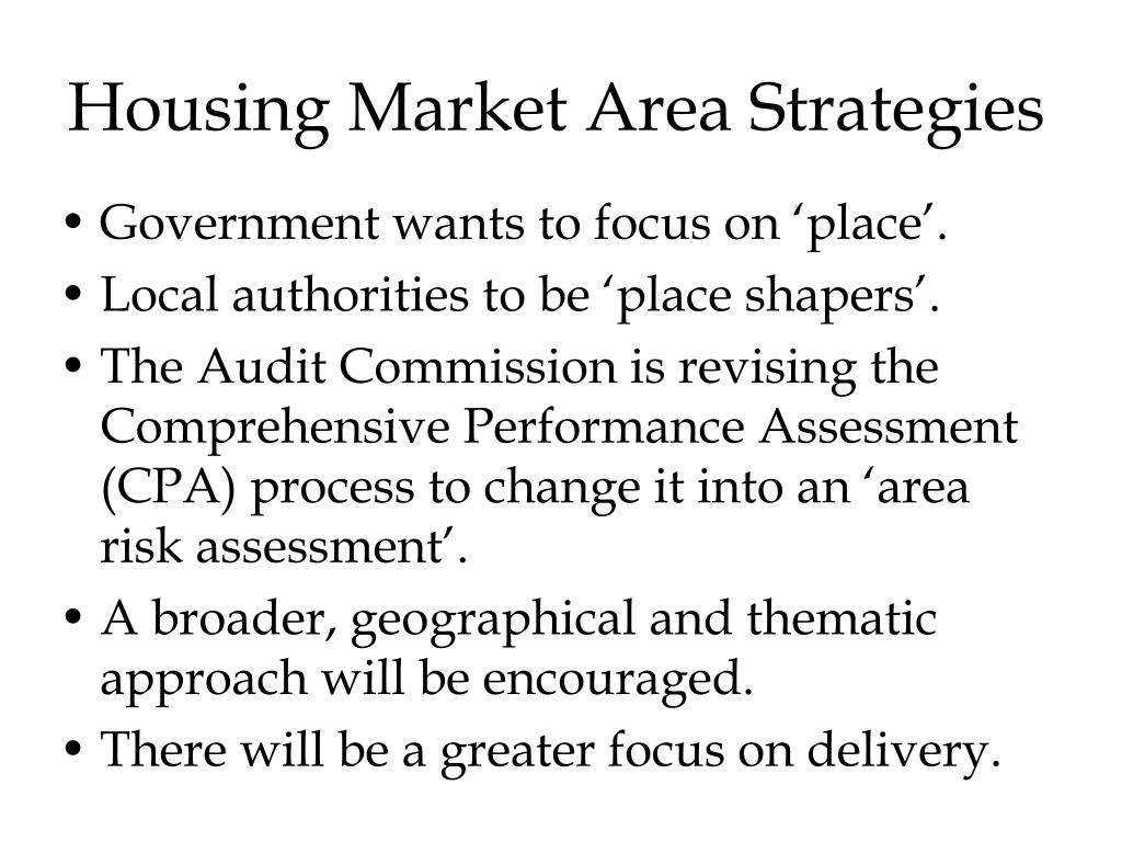 Housing Market Area Strategies
