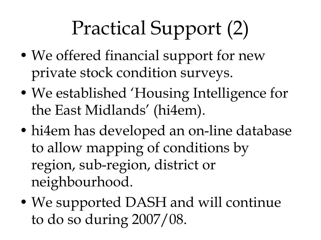 Practical Support (2)
