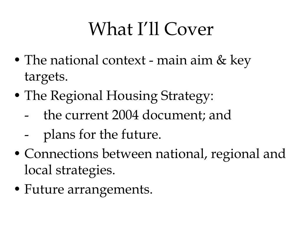 What I'll Cover