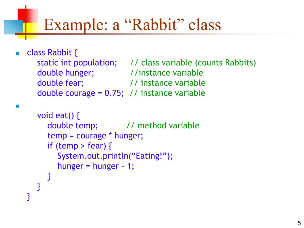 "Example: a ""Rabbit"" class"