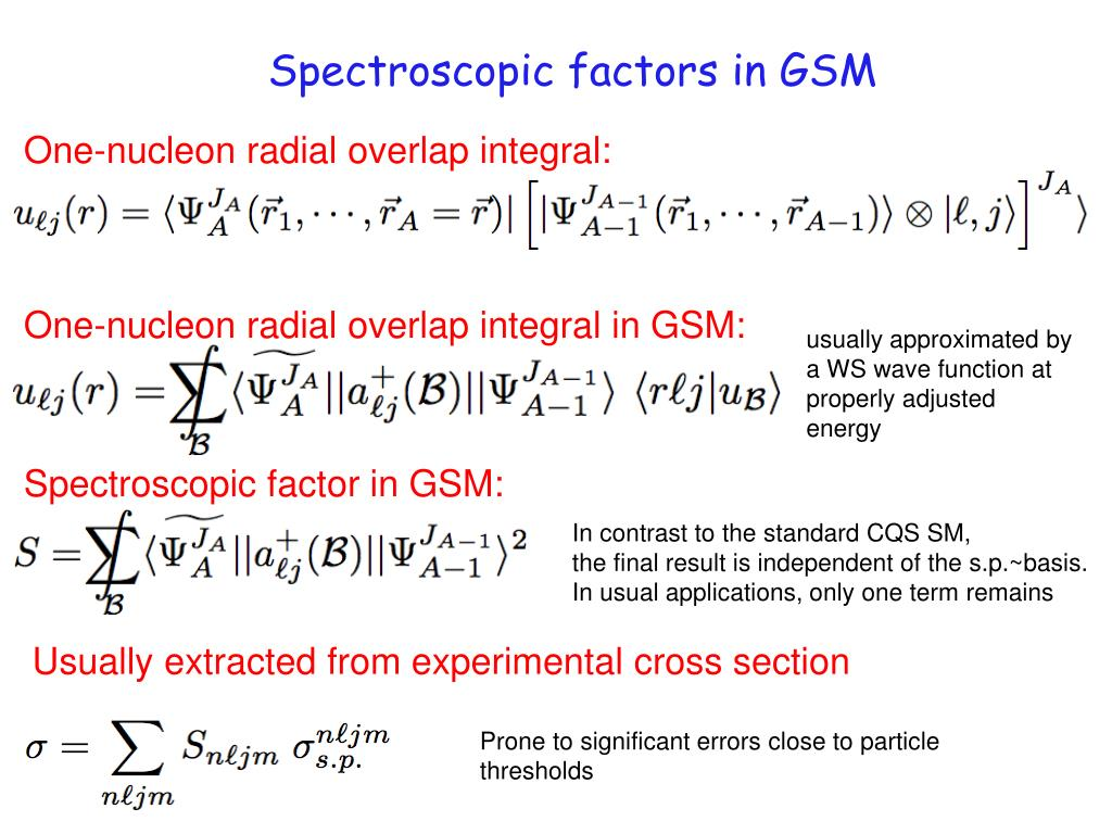 Spectroscopic factors in GSM