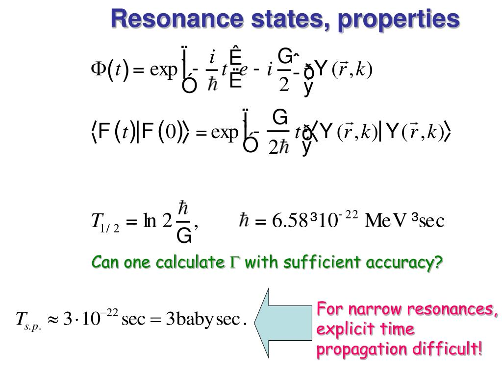 Resonance states, properties