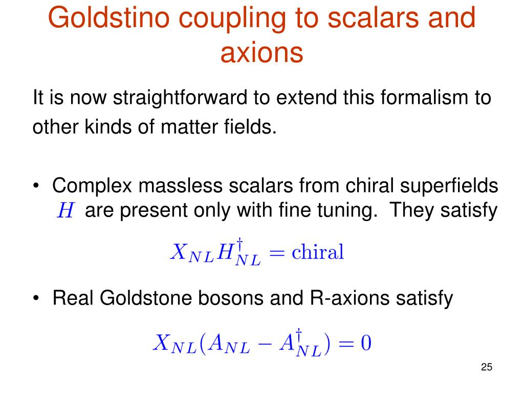 Goldstino coupling to scalars and axions