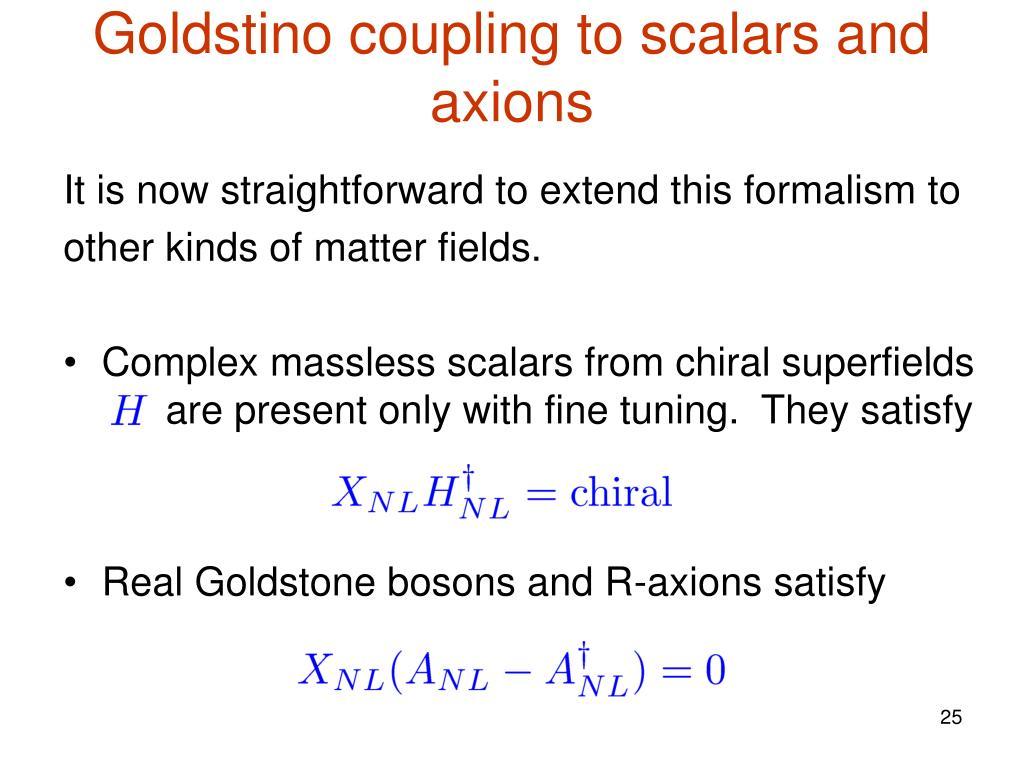 Goldstino coupling to scalars and axions