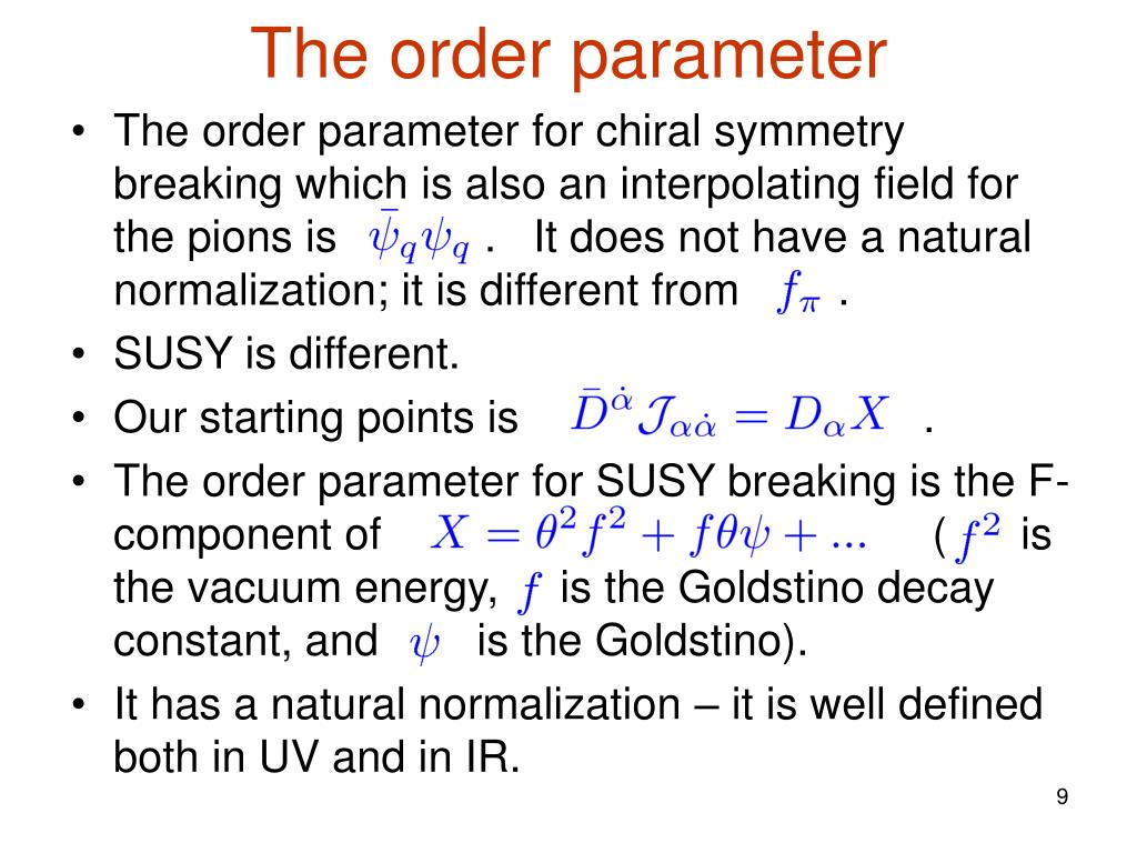 The order parameter