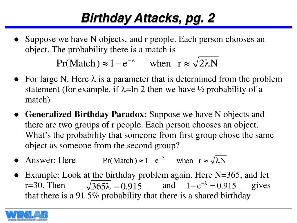 Birthday Attacks, pg. 2