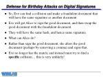 defense for birthday attacks on digital signatures