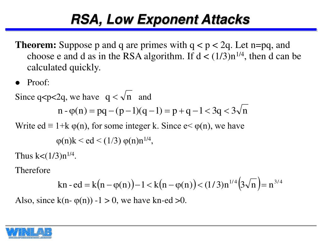 RSA, Low Exponent Attacks